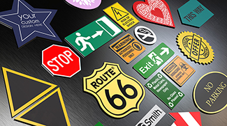 Plastic signs in different colors